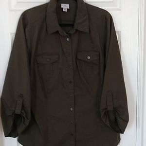 Worthington Button Front Dress Shirt Army Green
